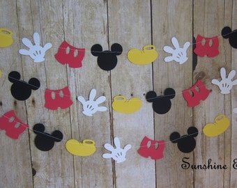 10 ft mickey mouse inspired paper garland banner decorations birthday clubhouse black white red yellow
