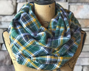 Plaid Flannel Infinity Scarf | Tailgating Clothes | Fall Accessories | Fall Scarves | Warm Scarf | Fashion Scarf | Tartan Scarf | Cowl Scarf