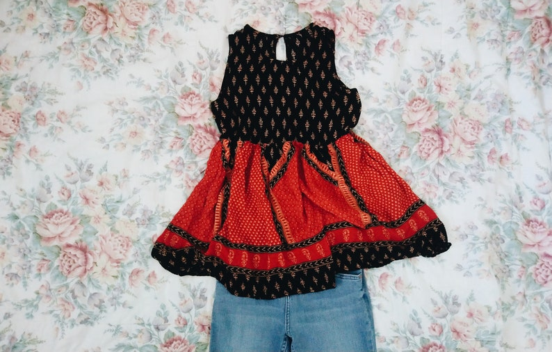 Upcycled sleeveless bohemian red and black tunic blouse