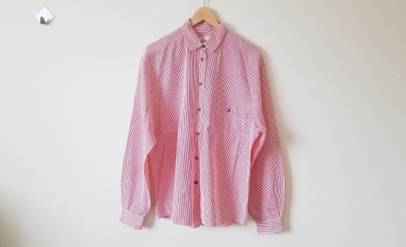 Vintage red and white stripes oversized button up