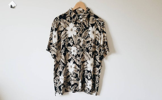 Vintage black button up shirt with floral and leaf