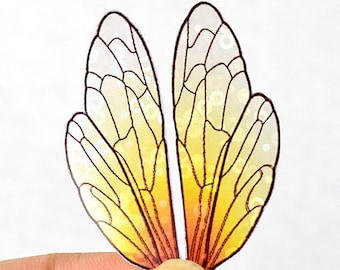 Golden Glass iridescent fairy wings for crafting - miniature insect wings with holo shimmer - multiple sizes - small acetate doll wings