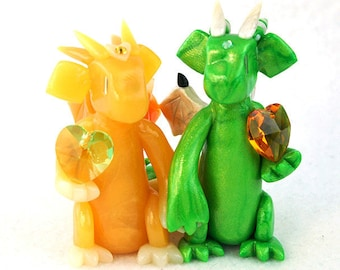 Custom birthstone dragon couple, made to order polymer clay dragon sculpture, Christmas present, anniversary gift, geeky gift, cake topper