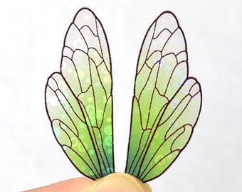 Verdant fairy wings for crafting - miniature iridescent insect wings with holo shimmer - multiple sizes - small, colorful acetate wings