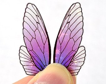Amethyst fairy wings for crafting - iridescent purple insect wings with holo shimmer - multiple sizes - small acetate wings for dolls
