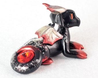 Black, silver and red gem dragon - fantasy polymer clay dragon sculpture - cute miniature dragon figurine - metallic silver