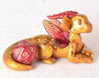 Gold and red dice holder fairy dragon, gold dragon figurine with fairy wings, d20 dice holder, dungeons and dragons, clay dragon sculpture