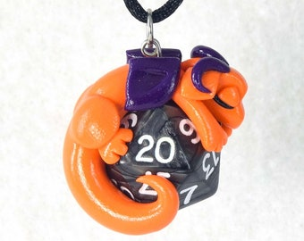 Sleeping orange and purple dragon d20 necklace, baby dragon pendant, polymer clay dragon necklace, black dice jewelry, Dungeons and Dragons