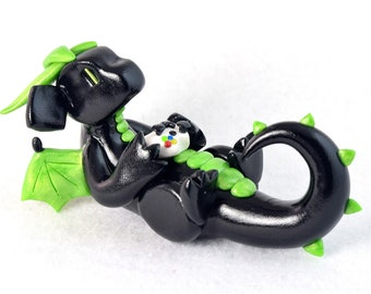 Xbox gamer dragon with an Xbox One controller (made to order) - Xbox 360 - reclining geeky video game dragon sculpture, silver, black, green