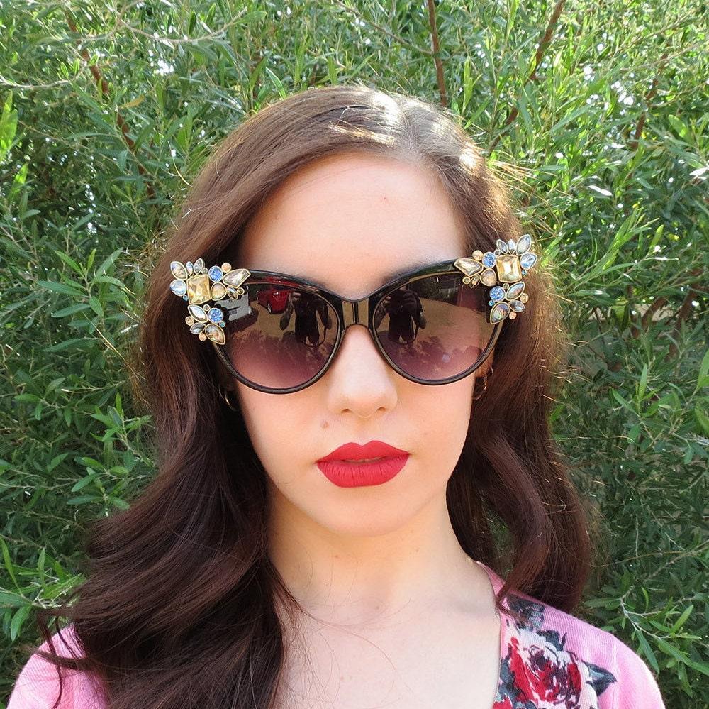 SPHENE  Classic Vintage Cat Eye Sunglasses with Rhinestone