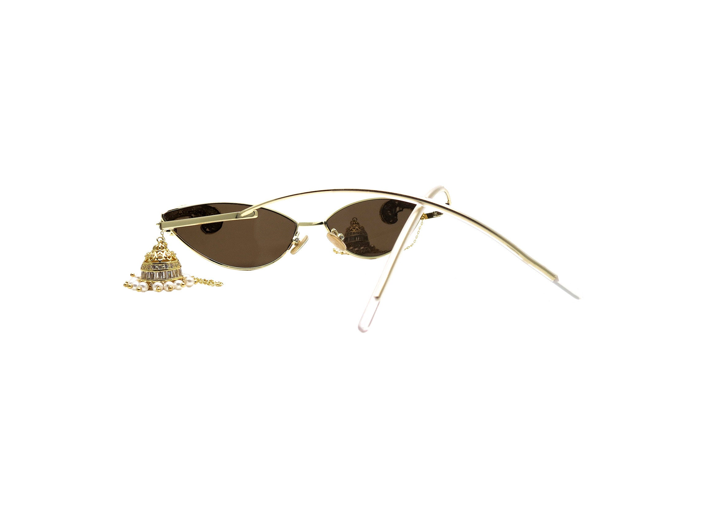CARA  Vintage Rounded Cat Eye Sunglasses with Egyptian Cubic