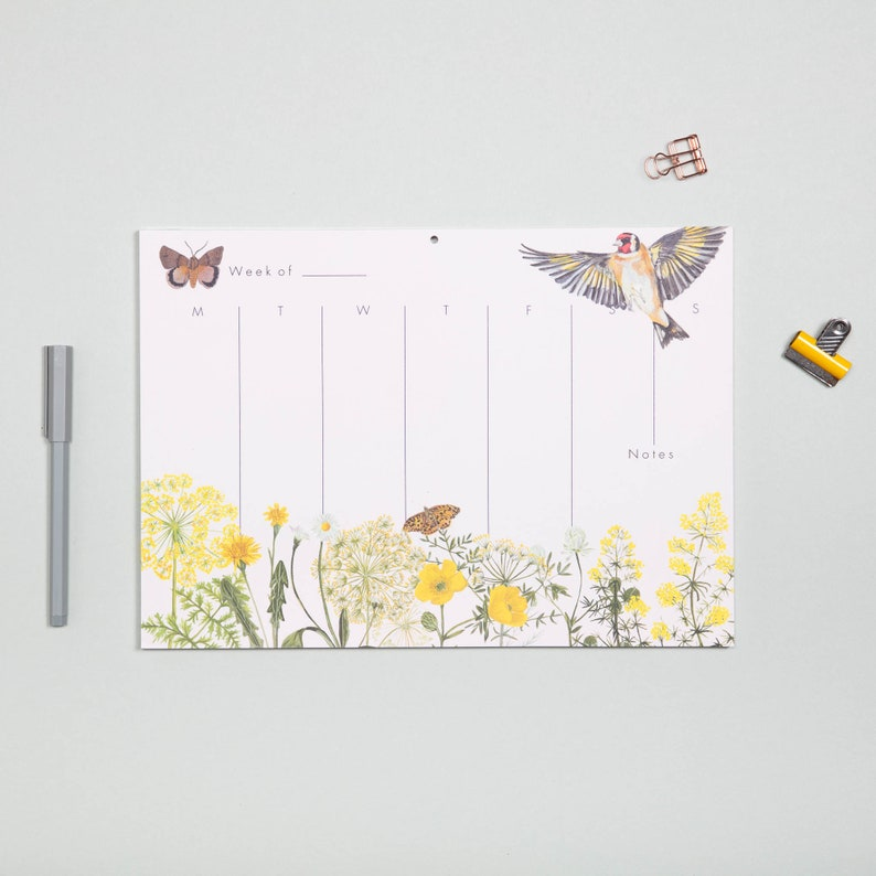 gift set for her Goldfinch gift box Floral and bird Tea Towel gift set tea towel and planner gift