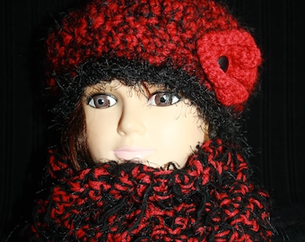 set snood 2 turns of the neck and beret Heather red and black)