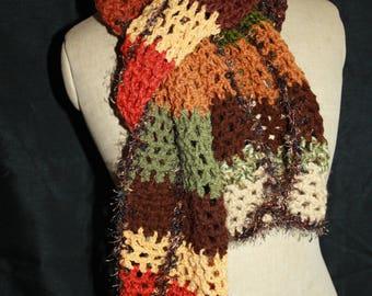 beautiful fall colors crochet scarf