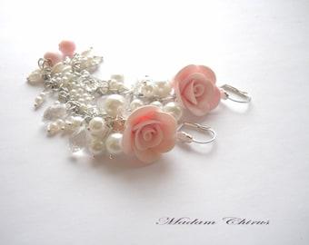 Earrings with roses, pink earrings, fancy earrings, flowers
