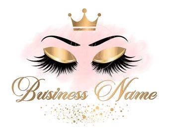 4a1810f0b45 DIGITAL Custom logo design , gold pink lashes logo, crown lash beauty logo, makeup  logo, gold lash logo design, gold glitter beauty logo