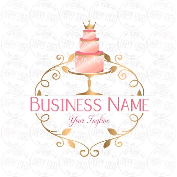 Digital Custom Logo Design Pink Gold Cake Bakery Logo Crown Etsy