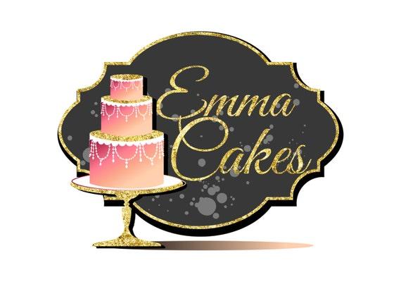 Digital Custom Logo Design Cake Bakery Logo Pink Gold Cake Etsy