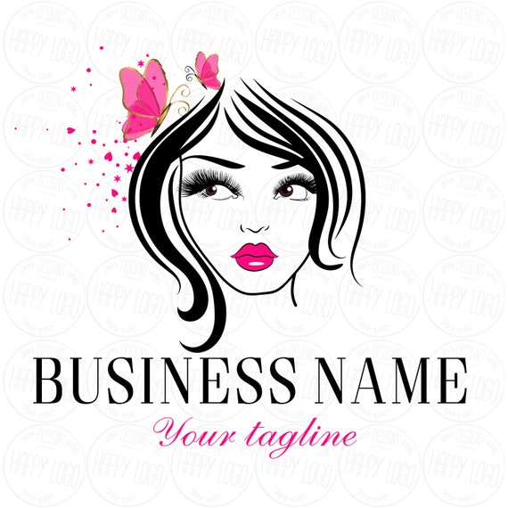 DIGITAL Custom logo design , lashes lips logo, lady beauty lash logo, hot  pink lips logo, butterfly pink lashes logo, butterfly beauty logo