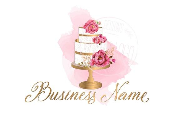 digital custom logo design watercolor cake logo bakery logo etsy