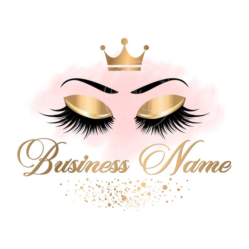 DIGITAL Custom logo design , gold pink lashes logo, crown lash beauty logo,  makeup logo, gold lash logo design, gold glitter beauty logo