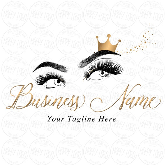 DIGITAL Custom logo design , lashes logo, crown lash beauty logo, makeup  logo, microblading logo, gold lash logo design, beauty logo brows
