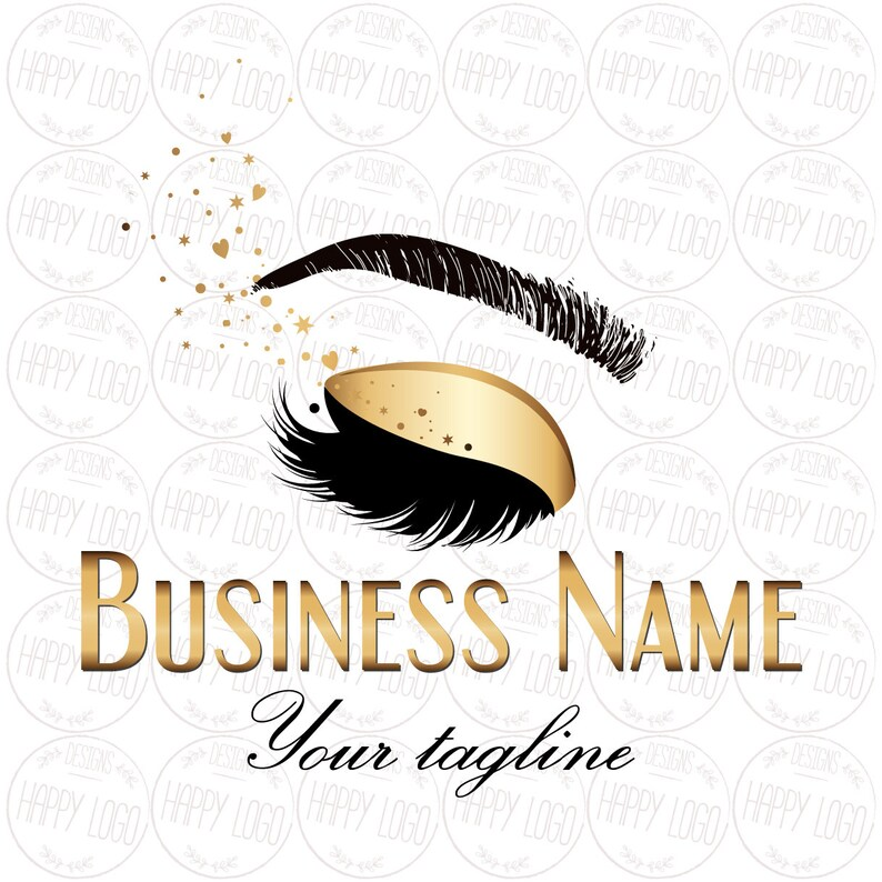 DIGITAL Custom logo design , lashes logo, glitter lashes beauty logo,  makeup logo, pink gold lashes logo, sparkle gold beauty logo pink