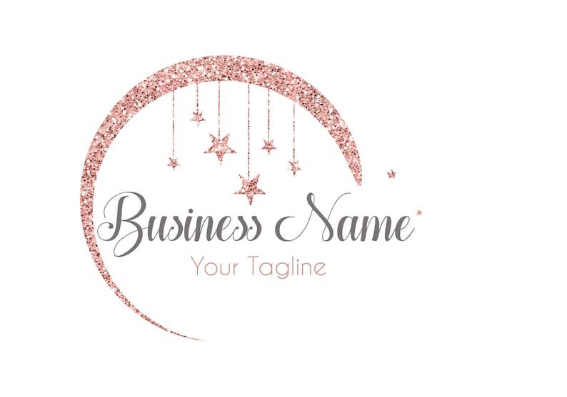 DIGITALE logo personalizzato logo luna rosa glitter oro  73656cc42466