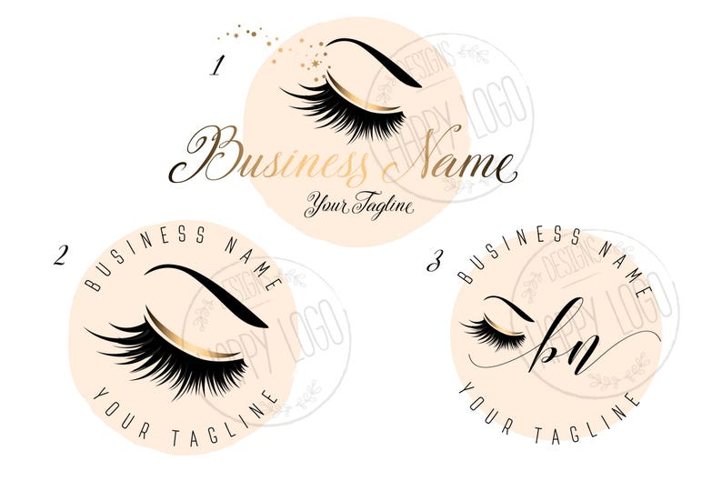 3X DIGITAL Custom logo, lashes logo, lashes beauty logo, makeup logo, gold  lashes logo design, gold pink beauty logo, graphic design lashes