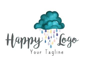 DIGITAL Cloud rain logo design, blue logo, watercolor cloud logo , rain drops logo design, cloud watercolor logo, custom logo cloud rain