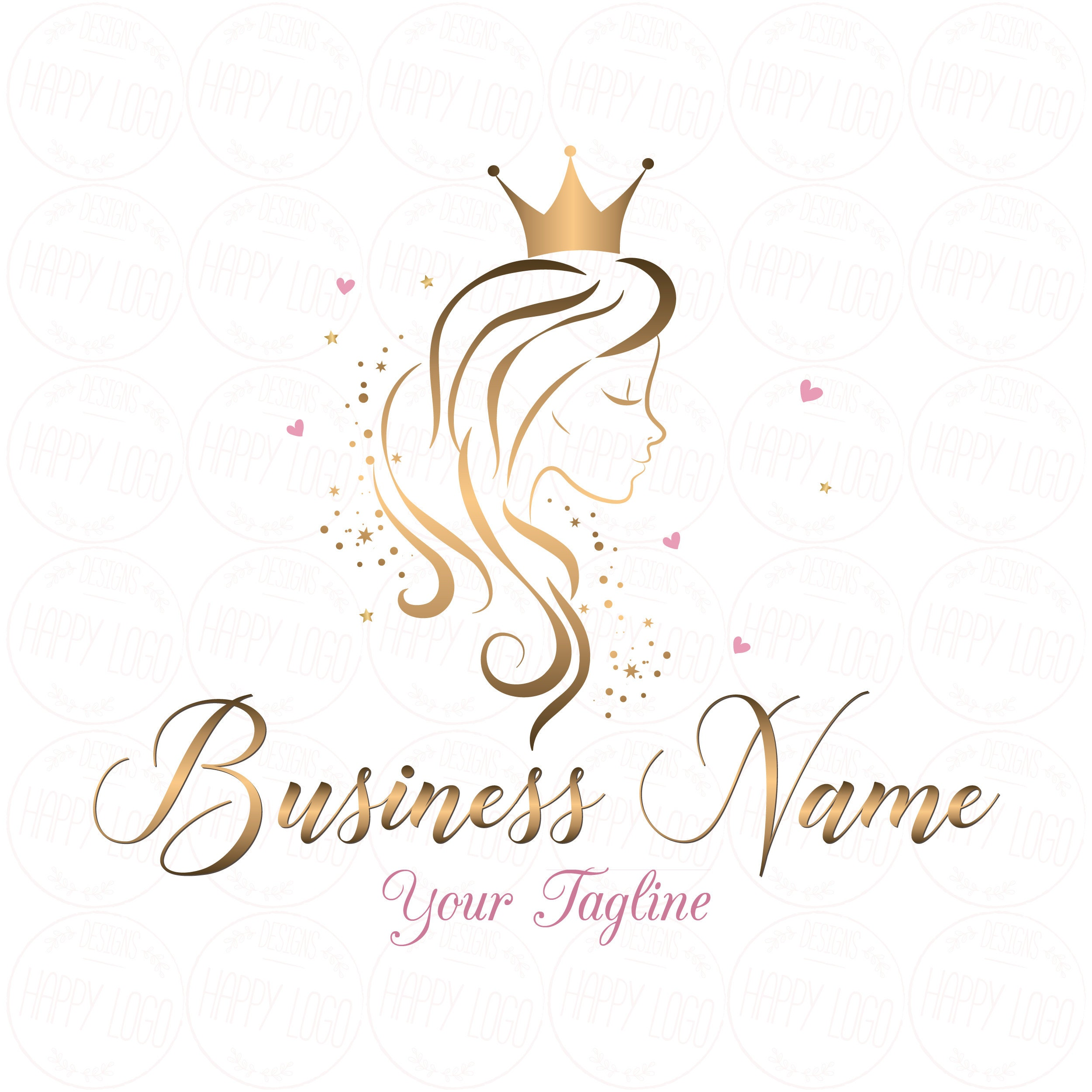 DIGITAL Custom logo design Hair Crown Beauty logo gold