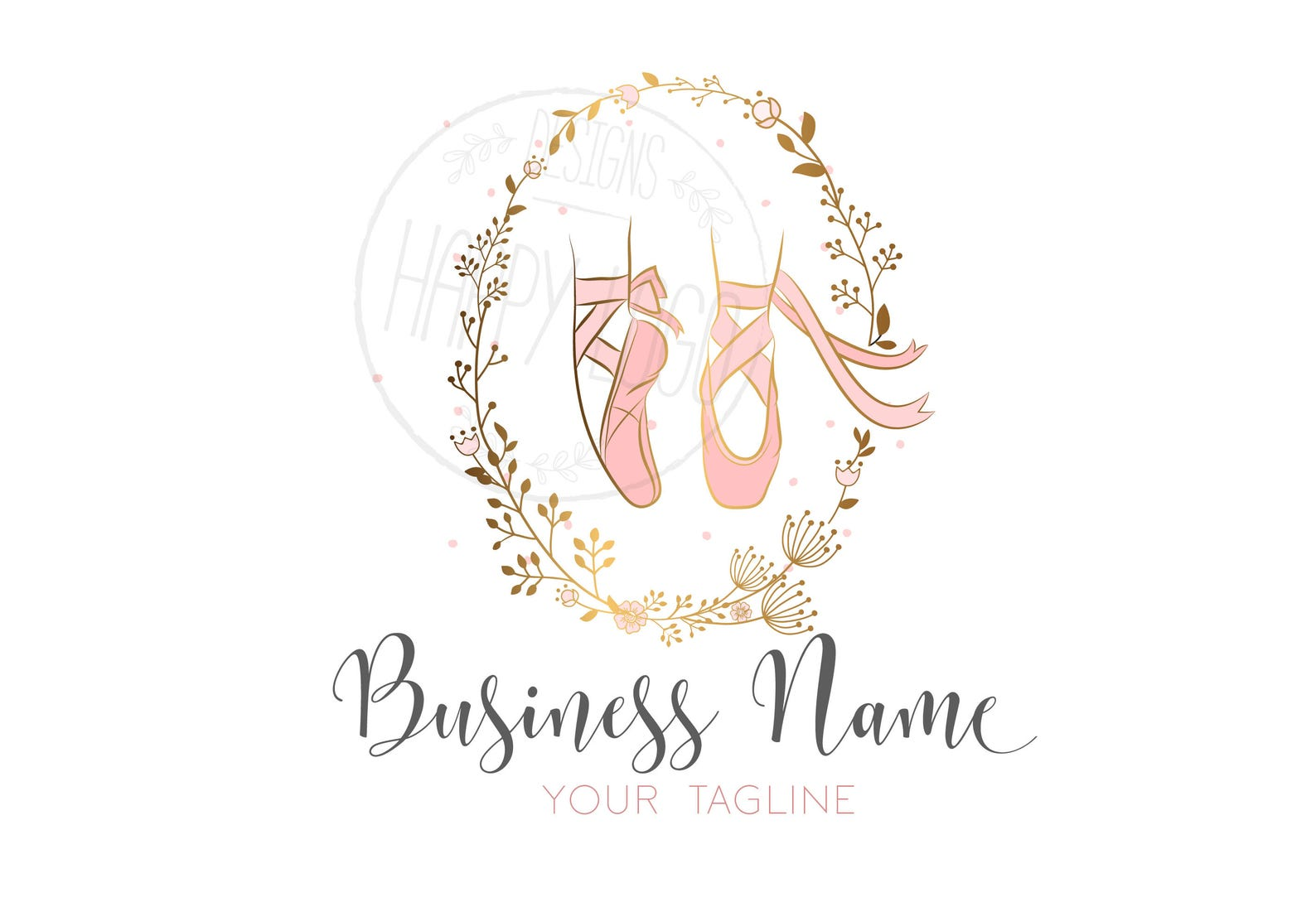 custom logo design, gold logo and watermark, ballerina pink gold logo, ballet shoes logo, pink gold ballet shoes logo, ballet fl