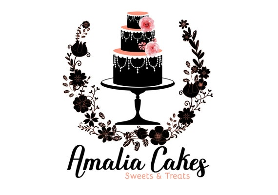 Digital Custom Logo Design Cake Bakery Logo Design Birthday Etsy