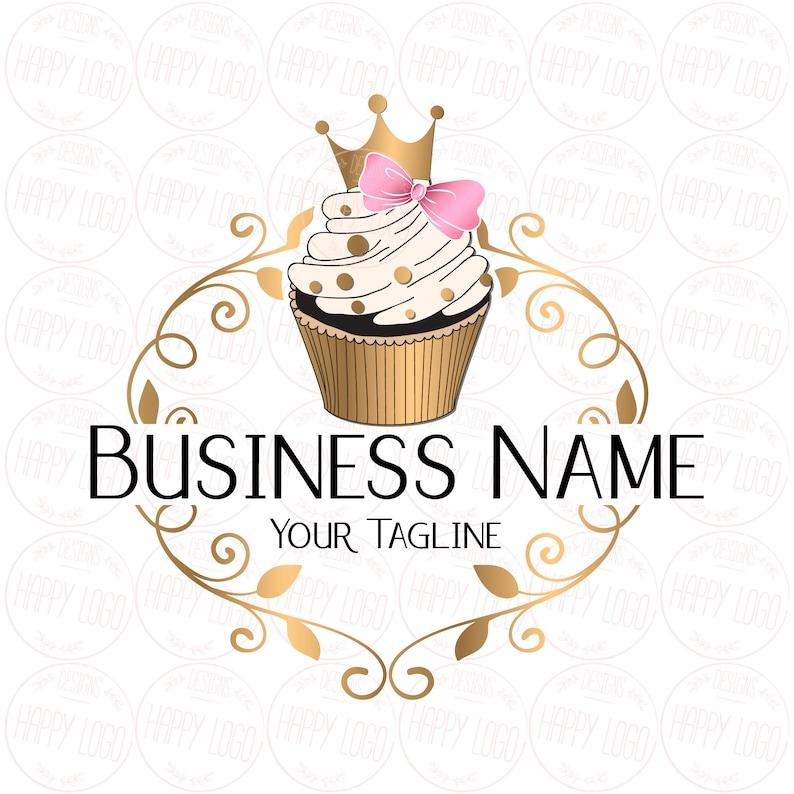 Custom Logo Design Cupcake Gold Crown Cupcake Logo Bow Pink Etsy