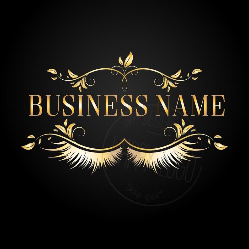 DIGITAL Custom logo design , eyelash logo, gold black lashes logo, elegant  lashes beauty logo, makeup logo, black gold beauty logo lashes