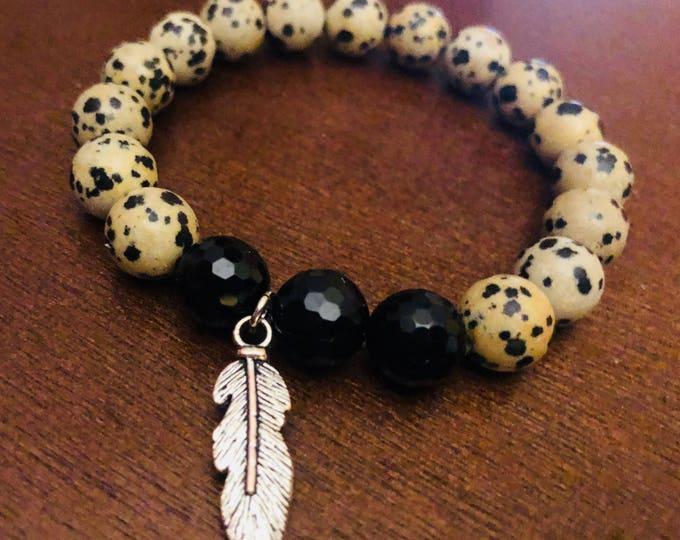 Dalmation Jasper & Onyx strestch bracelet