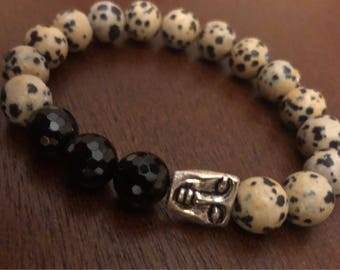 Dalmation and Onyx Buddha face bracelet