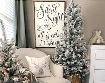 NEW~PRIMITIVE WOOD CHALK SIGN~All is CALM~ALL is Bright~Christmas~Shelf//Wall Art