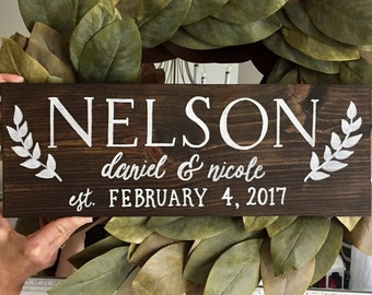 Family Name Rustic Wooden Wedding Sign • Save the Date Sign • Wedding Date Sign with Couples Names • Unique Wedding Gift • Newlywed Sign