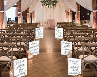 Set of 6 Wedding Aisle Signs, 1 Corinthians 13 Wedding Signs, Love is Patient, Love is Kind, Hand Painted Wedding Signage, Love Signs