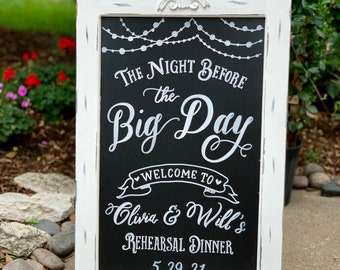 Rehearsal Dinner Sign • Wedding Welcome Sign • Wedding Chalkboard Easel Sandwich Board Sign • Love Laughter Before Happily Ever After Sign