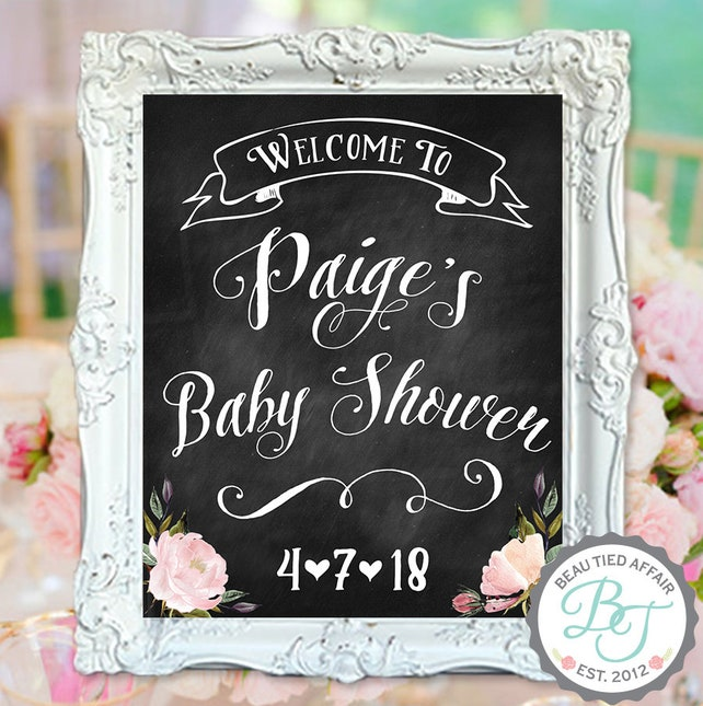 Baby Shower Chalkboard Sign Welcome Baby Shower Sign Baby Girl