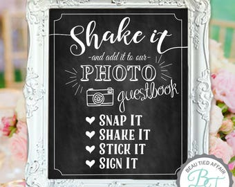 Wedding Guestbook Sign - Shake It Wedding Guest Book Chalkboard DIGITAL Print (No physical item sent) - Photo Guest Book Sign