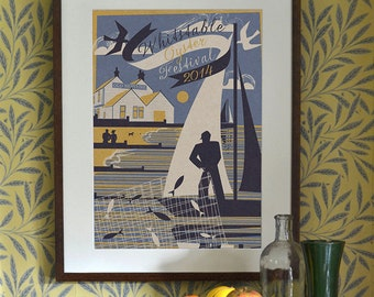 Original Design Art Deco A3 A2 A1 Poster Print Bauhaus Vintage Whitstable Beach Seaside Holiday Travel