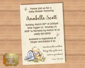 Classic Winnie The Pooh Baby Shower Invitation