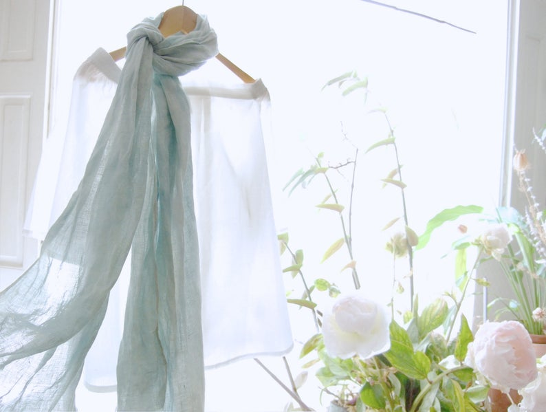 72ce989bf63 French blue linen scarf woad dyed scarf organic pale light