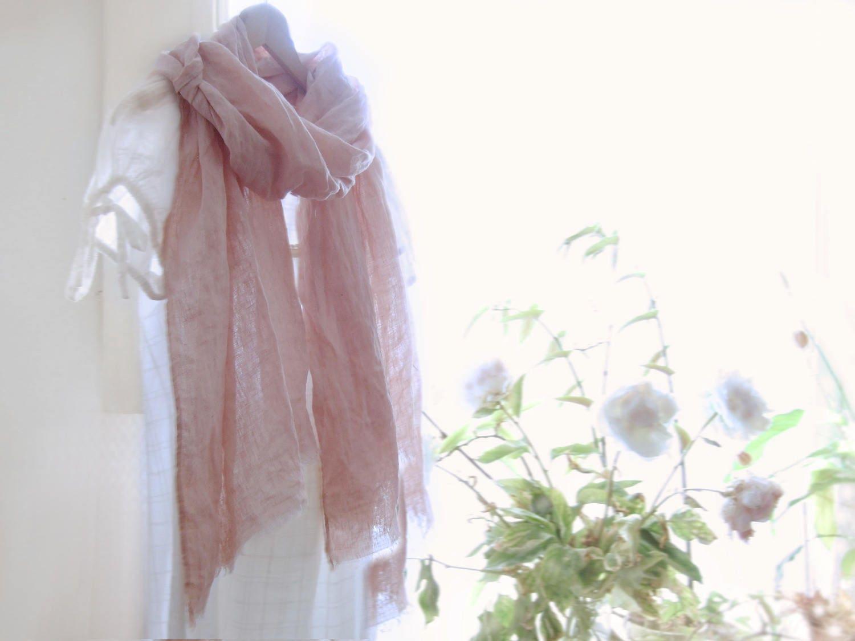Pastel Pink Linen Scarf