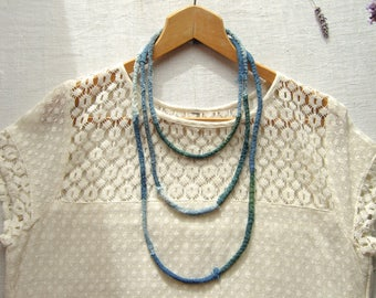 Wabi sabi necklace, natural indigo, French blue vintage linens, Boro sashiko style, hand stitched embroidered fabric, raw fiber multistrand