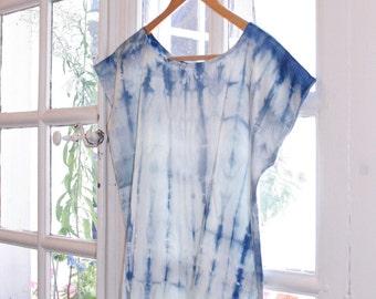 Women top, 100% French silk, Natural Indigo hand dyed, Shibori blouse, tie dye boho tshirt, S size