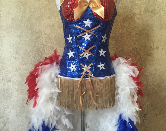 Pick Size-Sequin Patriotic Superhero 4th of July Dance Moulin Burlesque Carnival Circus Feather Costume